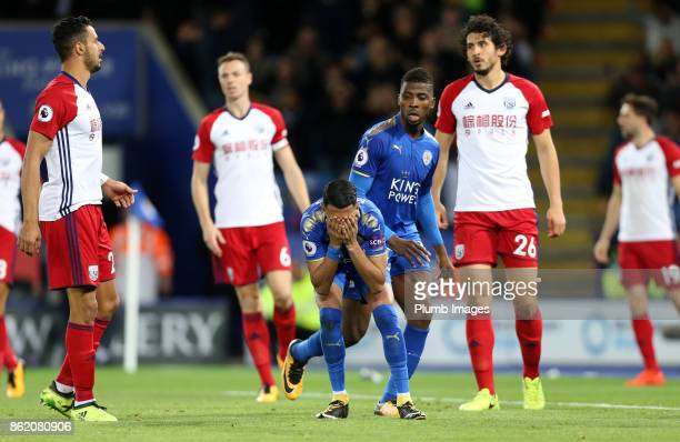Riyad Mahrez of Leicester City hold his head after missing a shot during the Premier League match between Leicester City and West Bromwich Albion at...