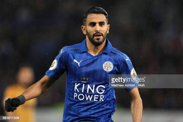Riyad Mahrez of Leicester City in action during the Premier League match between Leicester City and Tottenham Hotspur at The King Power Stadium on...