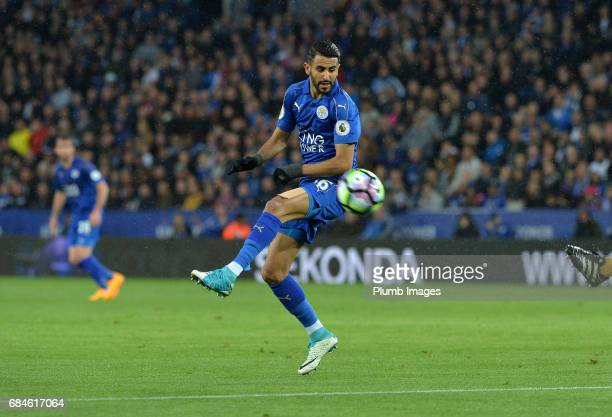 Riyad Mahrez of Leicester City in action during the Premier League match between Leicester City and Tottenham Hotspur at King Power Stadium on May 18...