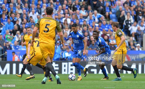 Riyad Mahrez of Leicester City in action during the Premier League match between Leicester City and Brighton and Hove Albion at King Power Stadium on...
