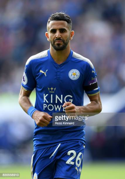 Riyad Mahrez of Leicester City in action during the Premier League match between Leicester City and Brighton and Hove Albion at The King Power...