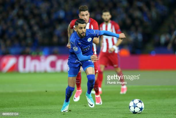 Riyad Mahrez of Leicester City in action during the UEFA Champions League Quarter Final Second Leg match between Leicester City and Club Atletico de...
