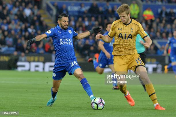 Riyad Mahrez of Leicester City in action with Eric Dier of Tottenham Hotspur during the Premier League match between Leicester City and Tottenham...