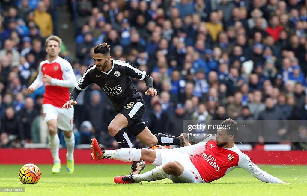 Riyad Mahrez of Leicester City in action with Francis Coquelin of Arsenal during the Premier League match between Arsenal and Leicester City at Emirates Stadium on February 14, 2016 in London, United Kingdom.