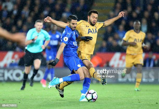 Riyad Mahrez of Leicester City in action with Mousa Dembele of Tottenham Hotspur during the Premier League match between Leicester City and Tottenham...