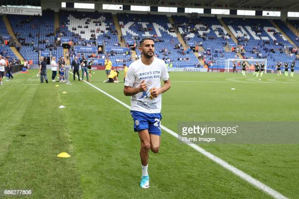 Riyad Mahrez of Leicester City joins Leicester City Club Ambassador Alan Birchenall on his 37th Annual fun run for the Foxes Foundation at King Power...