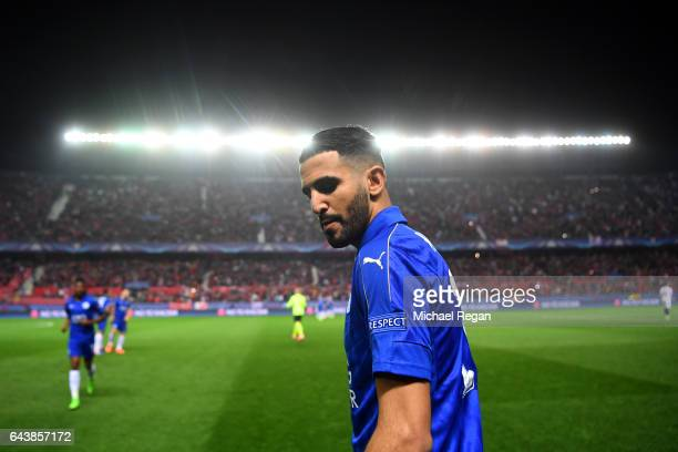 Riyad Mahrez of Leicester City looks on before the UEFA Champions League Round of 16 first leg match between Sevilla FC and Leicester City at Estadio...