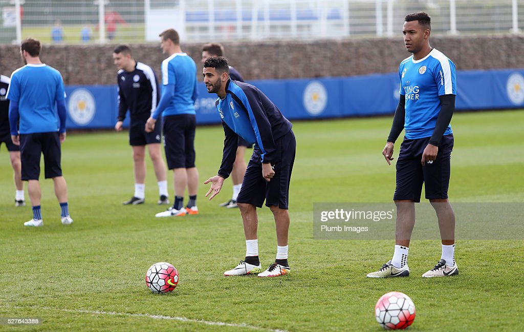 <a gi-track='captionPersonalityLinkClicked' href=/galleries/search?phrase=Riyad+Mahrez&family=editorial&specificpeople=9166027 ng-click='$event.stopPropagation()'>Riyad Mahrez</a> of Leicester City looks on during a Leicester City training session at Belvoir Drive Training Ground on May 3, 2016 in Leicester, England.