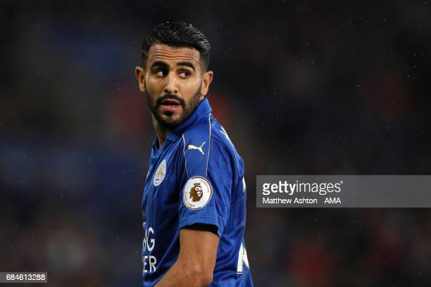 Riyad Mahrez of Leicester City looks on during the Premier League match between Leicester City and Tottenham Hotspur at The King Power Stadium on May...