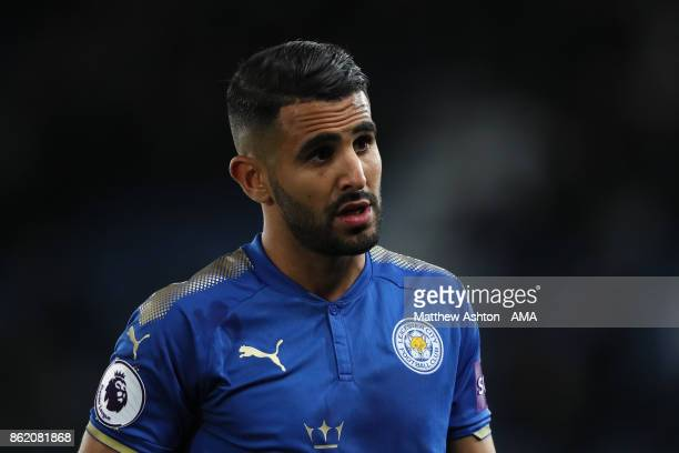 Riyad Mahrez of Leicester City looks on during the Premier League match between Leicester City and West Bromwich Albion at King Power Stadium on...