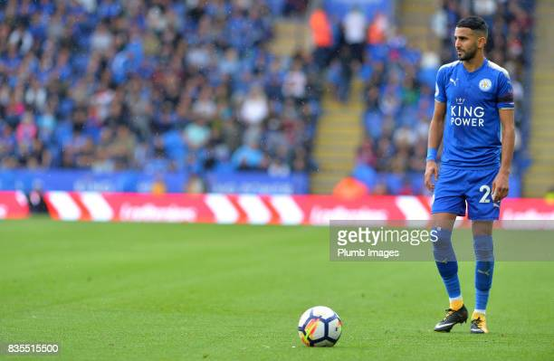 Riyad Mahrez of Leicester City prepares to take a free kick during the Premier League match between Leicester City and Brighton and Hove Albion at...