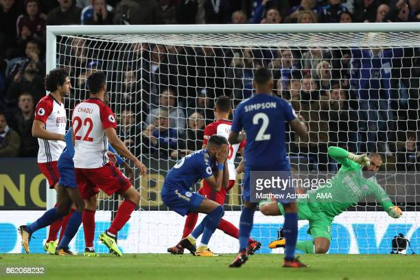 Riyad Mahrez of Leicester City reacts to a missed chance during the Premier League match between Leicester City and West Bromwich Albion at King...