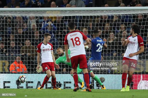 Riyad Mahrez of Leicester City scores a goal to make the score 11 during the Premier League match between Leicester City and West Bromwich Albion at...