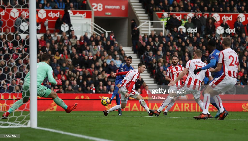 Riyad Mahrez of Leicester City scores his sides second goal during the Premier League match between Stoke City and Leicester City at Bet365 Stadium on November 4, 2017 in Stoke on Trent, England.