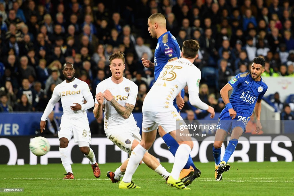 Riyad Mahrez of Leicester City scores his sides third goal during the Caraboa Cup Fourth Round match between Leicester City and Leeds United at The King Power Stadium on October 24, 2017 in Leicester, England.