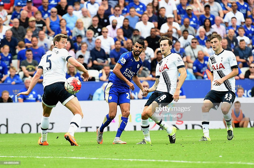 Riyad Mahrez of Leicester City scores his team's first goal during the Barclays Premier League match between Leicester City and Tottenham Hotspur at The King Power Stadium on August 22, 2015 in Leicester, England.