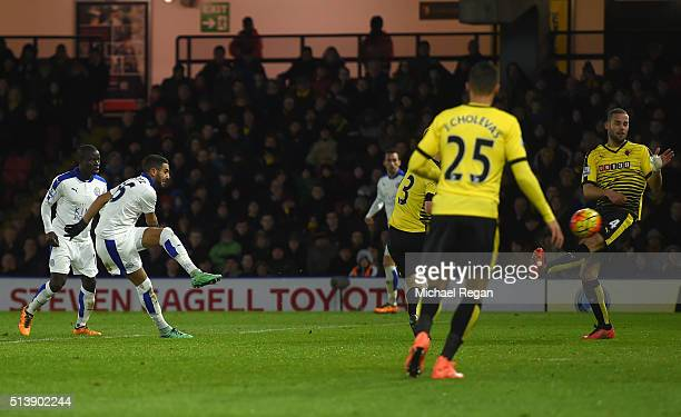 Riyad Mahrez of Leicester City scores his team's first goal during the Barclays Premier League match between Watford and Leicester City at Vicarage...