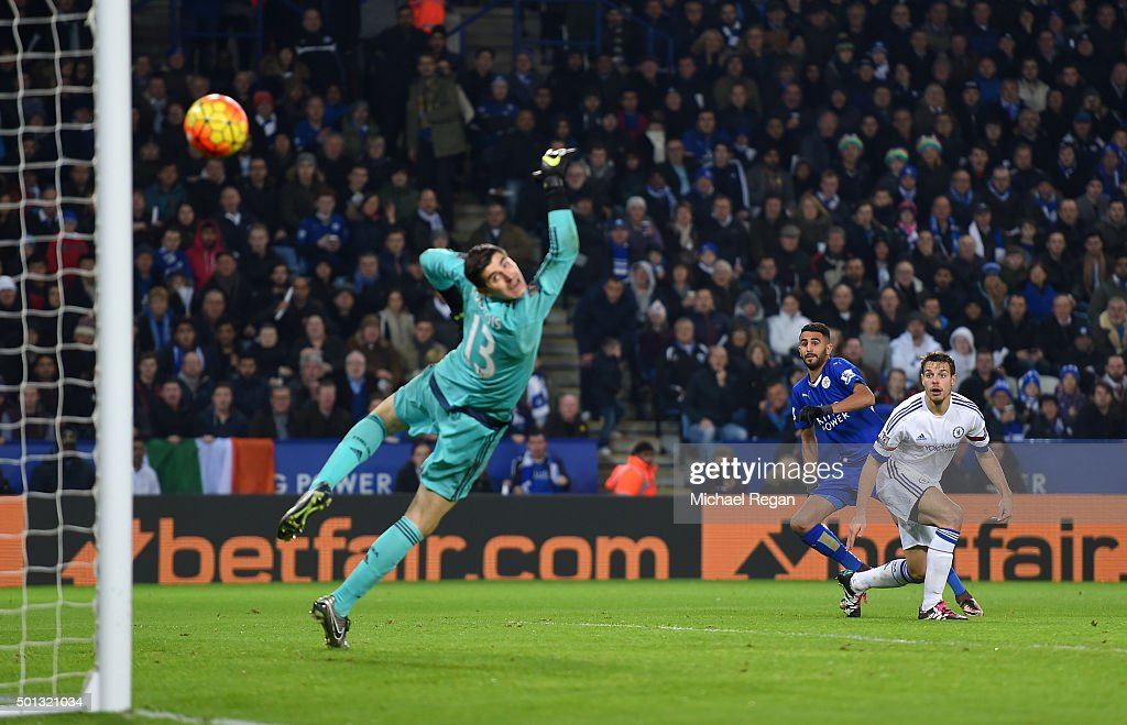 Riyad Mahrez of Leicester City scores his team's second goal during the Barclays Premier League match between Leicester City and Chelsea at the King Power Stadium on December14, 2015 in Leicester, United Kingdom.