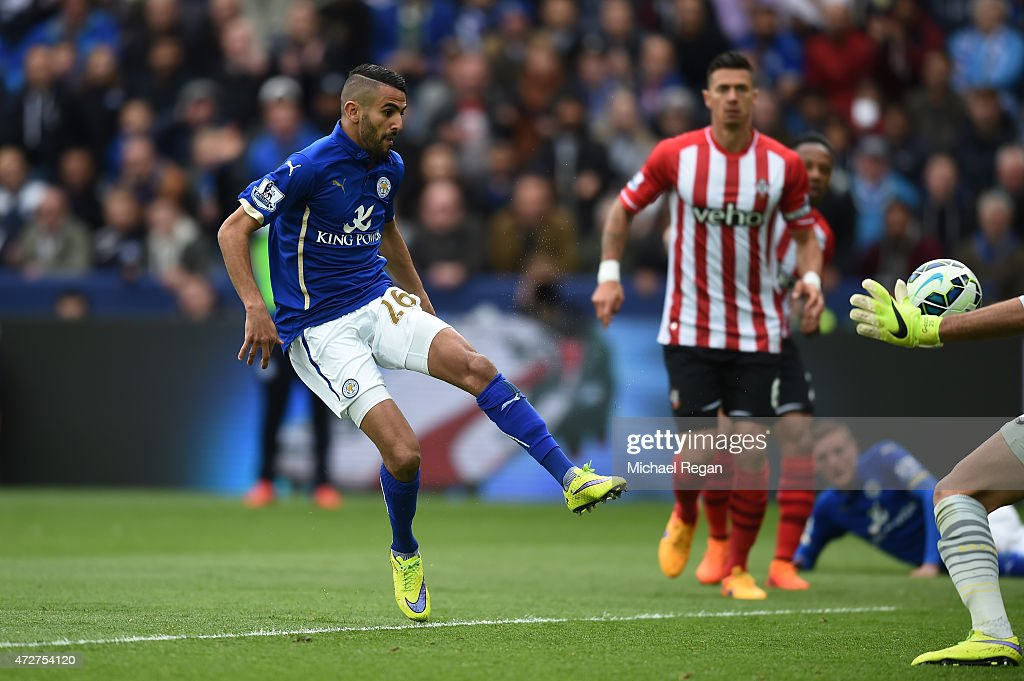 Riyad Mahrez of Leicester City scores the second goal during the Barclays Premier League match between Leicester City and Southampton at The King Power Stadium on May 9, 2015 in Leicester, England.