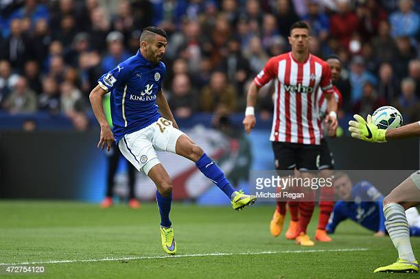 Riyad Mahrez of Leicester City scores the second goal during the Barclays Premier League match between Leicester City and Southampton at The King...