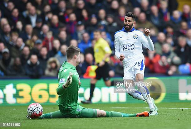 Riyad Mahrez of Leicester City shoots at goal during the Barclays Premier League match between Crystal Palace and Leicester City at Selhurst Park on...
