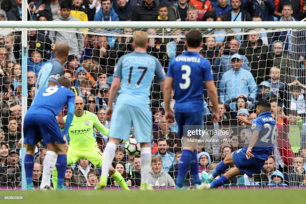 Riyad Mahrez of Leicester City strikes the ball twice as he takes a disallowed penalty kick during the Premier League match between Manchester City and Leicester City at Etihad Stadium on May 13, 2017 in Manchester, England.