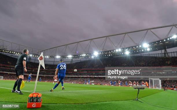 Riyad Mahrez of Leicester City takes a corner during the Premier League match between Arsenal and Leicester City at Emirates Stadium on August 11th...