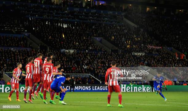 Riyad Mahrez of Leicester City takes a freekick during the UEFA Champions League Quarter Final second leg match between Leicester City and Club...