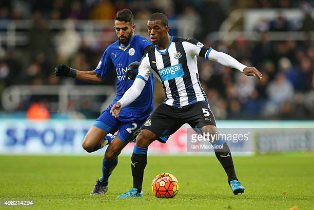 Riyad Mahrez of Leicester City vies with Georginio Wijnaldum of Newcastle United during the Barclays Premier League match between Newcastle and...
