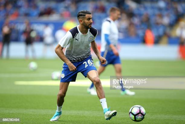Riyad Mahrez of Leicester City warms up at King Power Stadium ahead of the Premier League match between Leicester City and Bournemouth at King Power...