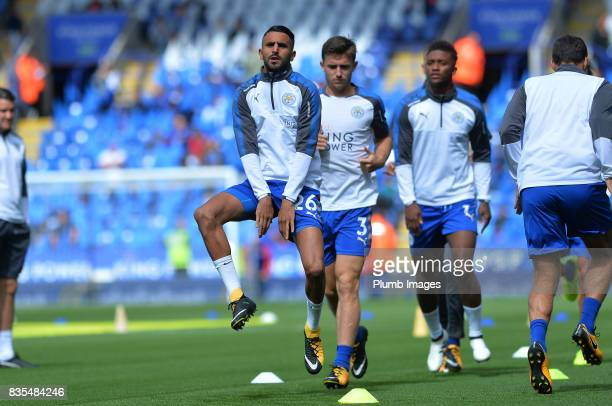 Riyad Mahrez of Leicester City warms up at King Power Stadium ahead of the Premier League match between Leicester City and Brighton and Hove Albion...