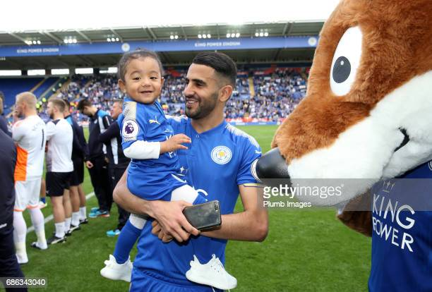 Riyad Mahrez of Leicester City with club mascot Filbert Fox after the Premier League match between Leicester City and Bournemouth at King Power...