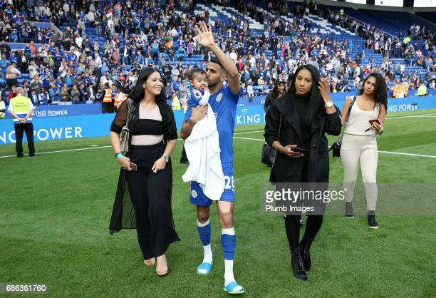 Riyad Mahrez of Leicester City with his family after the Premier League match between Leicester City and Bournemouth at King Power Stadium on May 21...