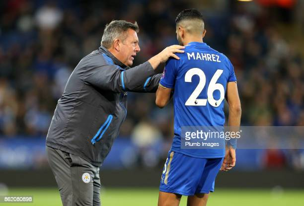 Riyad Mahrez of Leicester City with Manager Craig Shakespeare of Leicester City during the Premier League match between Leicester City and West...