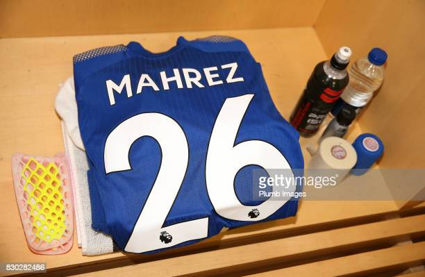 Riyad Mahrez of Leicester City's kit is laid out at Emirates Stadium ahead of the Premier League match between Arsenal and Leicester City at Emirates...