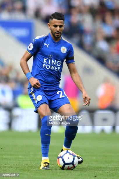 Riyad Mahrez of Leicester in action during the Premier League match between Leicester City and Brighton and Hove Albion at The King Power Stadium on...