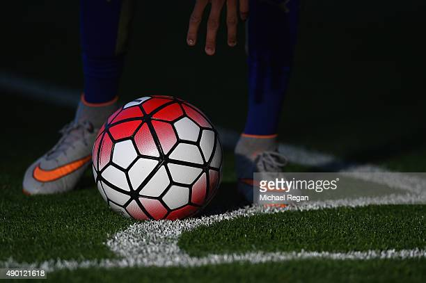 Riyad Mahrez of Leicester prepares to take a corner during the Barclays Premier League match between Leicester City and Arsenal on September 26 2015...