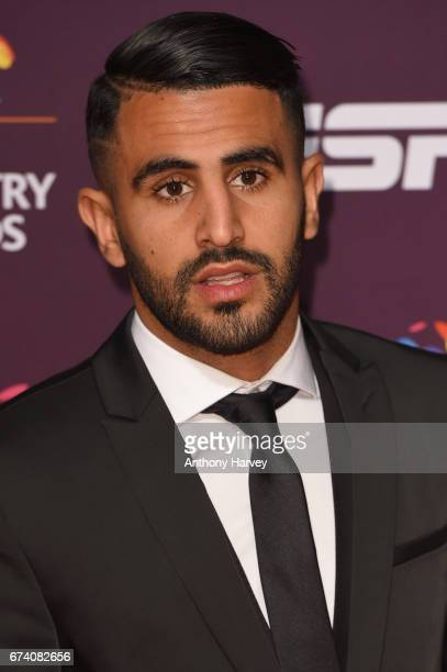 Riyad Mahrez poses on the red carpet during the BT Sport Industry Awards 2017 at Battersea Evolution on April 27 2017 in London England The BT Sport...