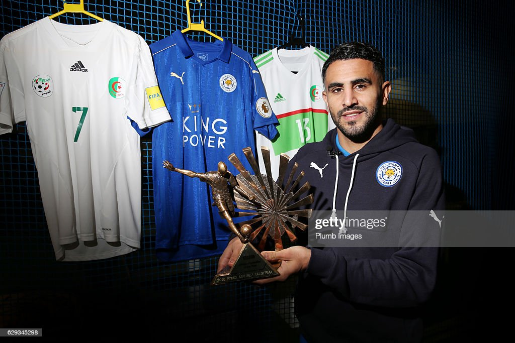 Riyad Mahrez Receives the African Footballer of the Year at Belvoir Drive Training Complex on December 12, 2016 in Leicester, United Kingdom.