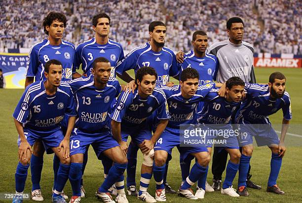 Saudi alHilal club players pose for a group picture prior to their AFC Asian Champions League football match against Uzbek Pakhtakor club in Riyadh...
