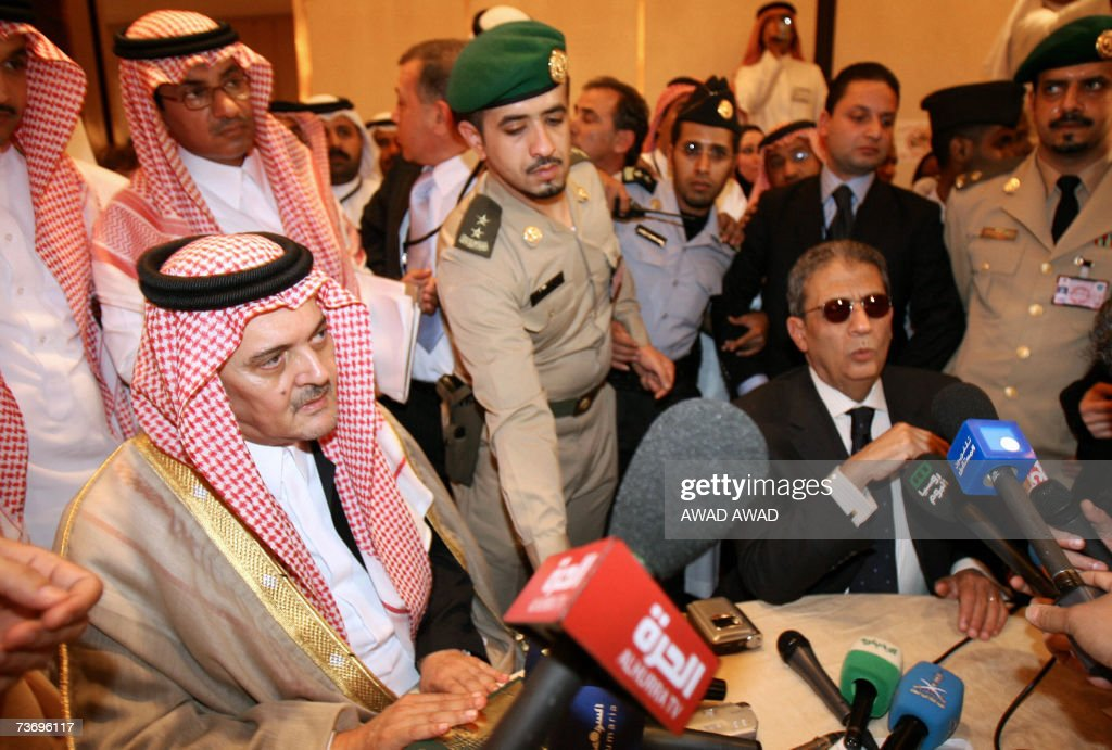 Saudi Foreign Minister Prince Saud al-Faisal (L) and Arab League Secretary General Amr Mussa (R) speak to the media at the press centre in Marriot Hotel in Riyadh 25 March 2007. This week's Arab Summit is due to focus on a five-year-old Arab peace plan which Israel and the United States would like to see amended. The blueprint calls for full normalisation of relations with Israel in return for a full Israeli withdrawal from Arab lands occupied in 1967 and the creation of a Palestinian state.