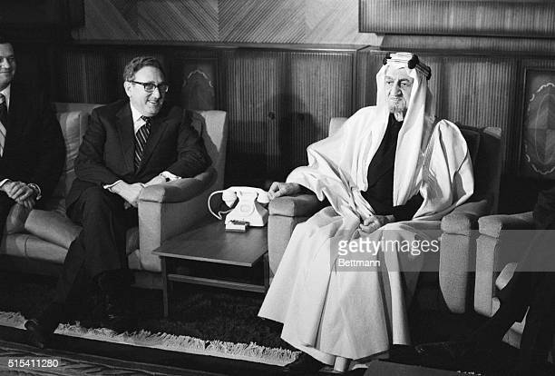 Riyadh Saudi Arabia US Secretary of State Henry Kissinger meets 12/14 with King Faisal of Saudi Arabia Kissinger on a tour of six Arab capitals and...