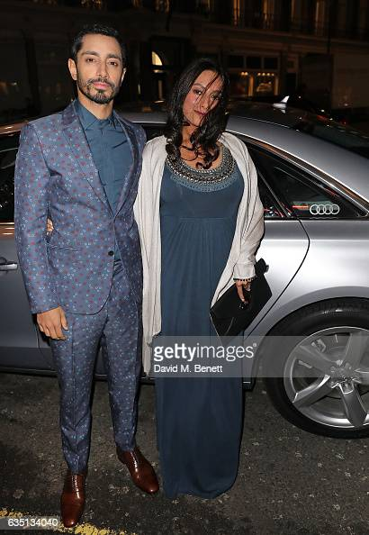 Riz Ahmed and guest arrive in an Audi at the ELLE Style Awards at 41 Conduit Street on February 13 2017 in London England