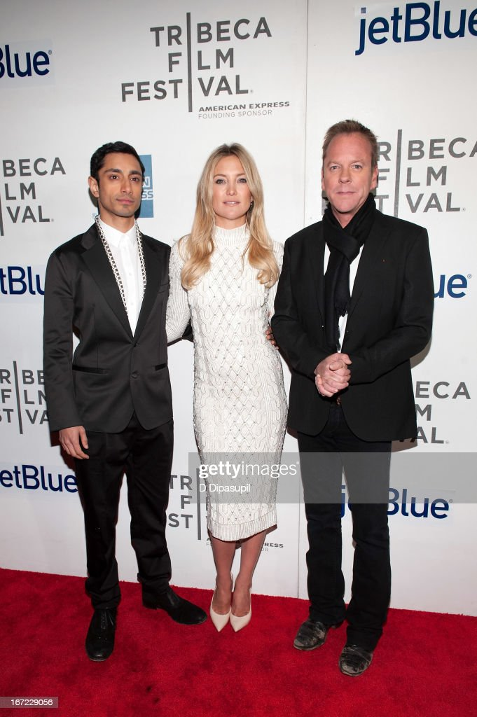 Riz Ahmed Kate Hudson and Kiefer Sutherland attend the screening of 'The Reluctant Fundamentalist' during the 2013 Tribeca Film Festival at BMCC...