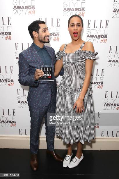 Riz Ahmed poses in the winners room with the Actor of The Year award and presenter Zawe Ashton at the Elle Style Awards 2017 on February 13 2017 in...