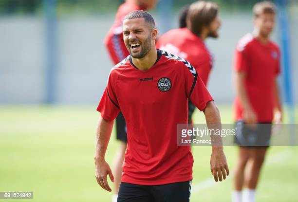 Riza Durmisi laughs during the Denmark training session at Brondby Stadion on June 2 2017 in Brondby Denmark