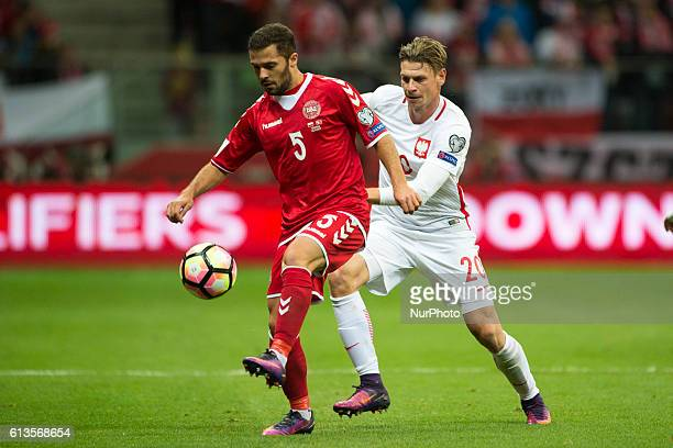 Riza Durmisi of Denmark and Lukasz Piszczek of Poland in action during the FIFA World Cup 2018 Qualifying Group E match between Poland and Denmark at...