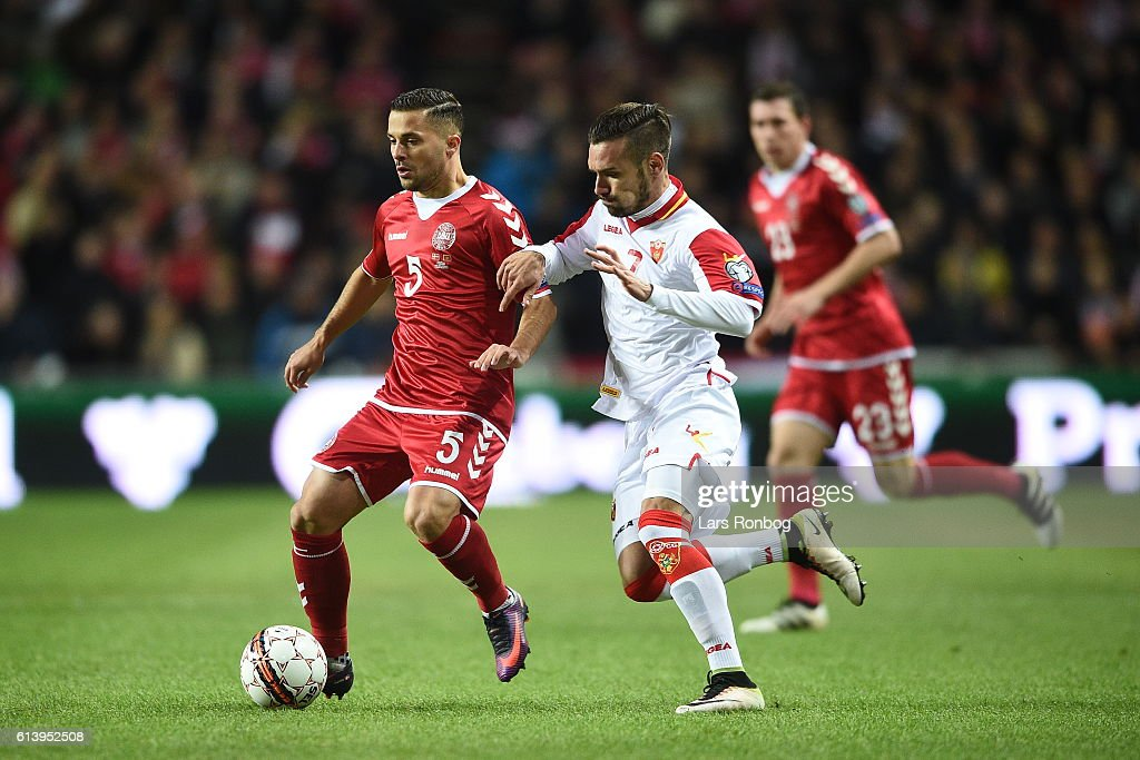 Riza Durmisi of Denmark controls the ball during the FIFA World Cup 2018 european qualifier match between Denmark and Montenegro at Telia Parken Stadium on October 11, 2016 in Copenhagen, Denmark.