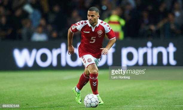 Riza Durmisi of Denmark controls the ball during the international friendly match between Denmark and Germany at Brondby Stadion on June 6 2017 in...