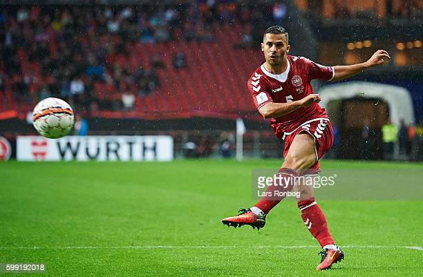 Riza Durmisi of Denmark in action during the FIFA World Cup 2018 european qualifier match between Denmark and Armenia at Telia Parken Stadium on...